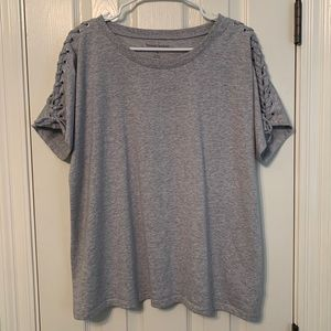 NWOT!  Heather Gray Laced Sleeve Tee